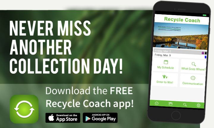 A photo of the Recycle Coach Mobile Application displayed on a cell phone screen.